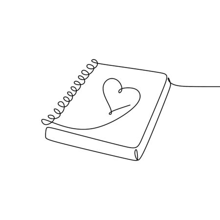continuous line drawing of books in love.