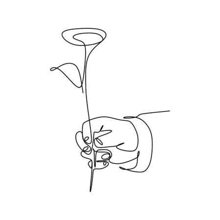 continuous line drawing of hands and roses.  イラスト・ベクター素材