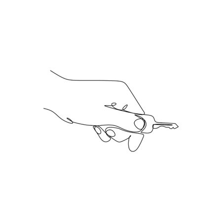 continuous line drawing of a hand and a key. Standard-Bild - 138281036