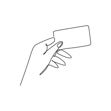 continuous line drawing without holding a card.  イラスト・ベクター素材