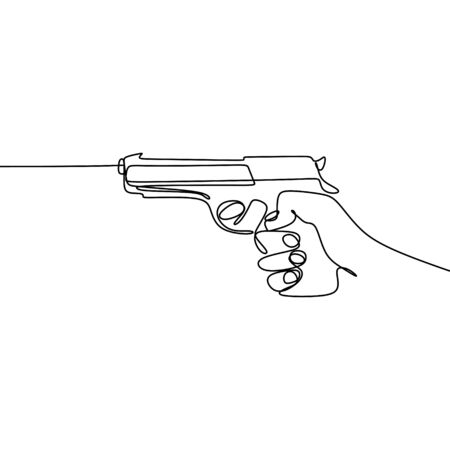 continuous line drawing of hands and pistols. Illustration