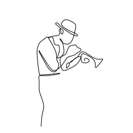 continuous line drawing of jazz music.