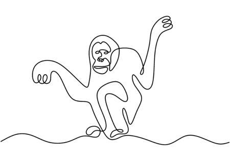 one line monkey drawing. Vector animal chimpanzee.