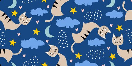 Cat seamless pattern with cute character. Funny animal dream cats with stars, moon and clouds. Cartoon scandinavian drawing for baby, kids, and children fashion textile print.
