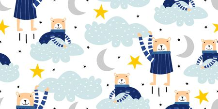 Happy bear seamless pattern. Hand drawn animal cartoon, stars, and cloud. Fantasy for children, baby, and kids vector illustration.