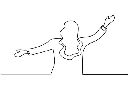 Continuous one line drawing of happy girl celebration rising her hands. Woman feeling freedom and awesome. Minimalism design with simplicity lineart on white background.  イラスト・ベクター素材