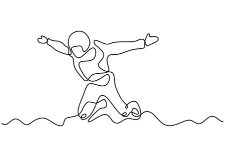 Skydiving one line drawing. Vector single continuous hand drawn of person jumping and flying from airplane. Adrenaline and extreme sport minimalism contour sketch illustration. Skydiver in action.