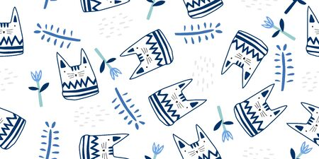 Seamless cat pattern. Cute kitty illustration for nursery design. Vector illustration adorable drawing scandinavian doodle style. Good for birthday, baby shower design and party decor, and print.  イラスト・ベクター素材