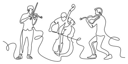 Classical musicians one line drawing. Minimalism vector illustration of cello, violin player. Single hand drawn sketch vector illustration. Contour linear design isolated on white background.