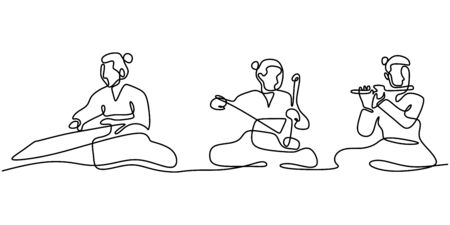 Continuous line drawing of people with Gayageum or Kayagum, is a traditional Korean zither-like string. One hand drawn sketch of korean music performance. Фото со стока - 138281098