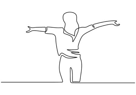 Continuous one line drawing of woman standing and rising hands. portrait of girl feeling freedom and fresh.  イラスト・ベクター素材