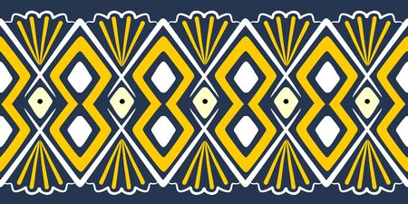 Tribal pattern vector. Seamless ethnic handmade with stripes vector illustration. Geometric shapes aztec, maya, and ancient design.