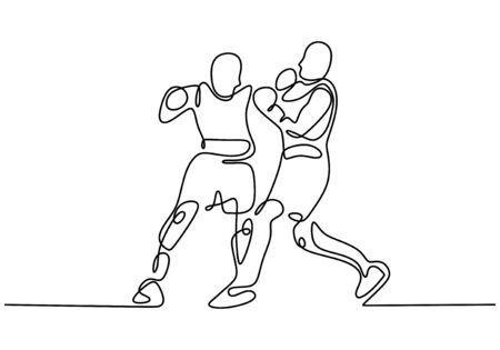Fighter give a punch to opponent. Kick boxing one line drawing. Continuous single hand drawn sport athlete. Contour sketch minimalism style. Archivio Fotografico - 138277618