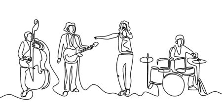 Jazz Music concert one line drawing. Continuous single hand drawn minimalism. Vector illustration of people group band including singer, guitarist, and drummer. Simplicity contour linear style.  イラスト・ベクター素材