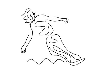 Woman surfing one continuous line drawing. Extreme sport in action. Summer beach theme design vector illustration minimalism style.