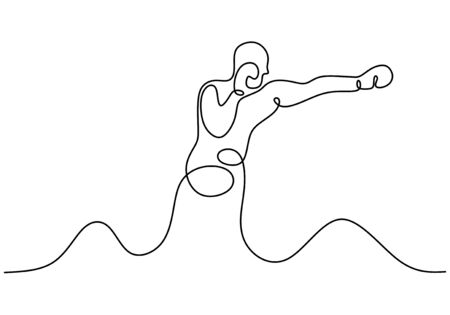 Kick boxing one line drawing. Person give a punch. Continuous single hand drawn sport athlete. Contour sketch minimalism style. Archivio Fotografico - 138277647
