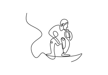 continuous one line drawing surfer vacation sea wave. Wave rider standing on surf board in the beach. Single hand drawn sketch minimalism art.