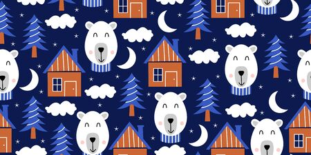 Bear seamless pattern with cute animal illustration. Background for baby fashion textile and kids. Vector hand drawn funny character.