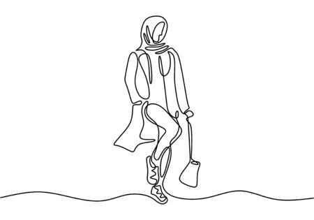 Continuous one line drawing of Woman wearing hijab scarf. Fashionable muslim figure vector illustration.  イラスト・ベクター素材