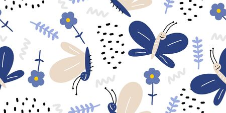 Butterfly and flowers seamless pattern. Hand drawn floral elements decoration for fashion textile print. Vector hand drawn doodle scandinavian colorful background.