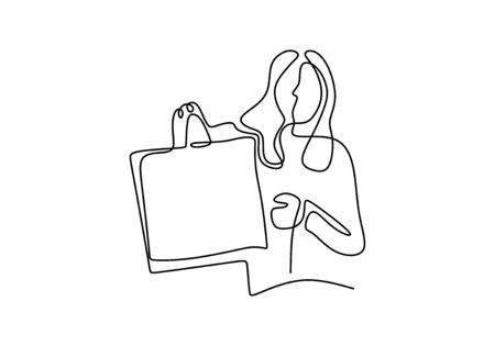 Happy young woman with shopping bags. Continuous one line drawing of girl buying things. Minimalism and simplicity vector illustration isolated on white background.