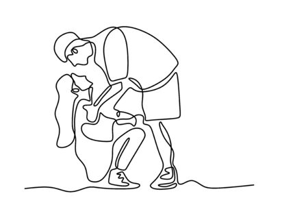 Continuous one line drawing of romantic couple. Concept of a man and girl falling in love and shows their emotions. Good for Valentine banner vector illustration minimalism.