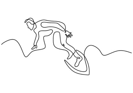 People surfing one continuous line drawing. Extreme sport in action. Summer beach theme design vector illustration minimalism style.