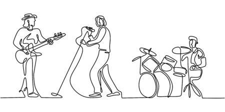 Music festival concert one line drawing. Continuous single hand drawn minimalism. Vector illustration of people group band including singer, guitarist, and drummer. Simplicity contour linear style.  イラスト・ベクター素材