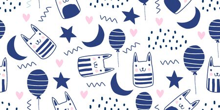 Cute cats seamless pattern scandinavian doodle drawing. Hand drawn funny animal cartoon characters with balloon, stars, and moon. Birthday theme good for baby fashion, backdrop, textile wrapping.