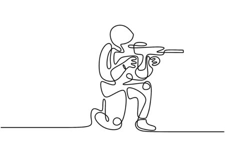 Soldier one line drawing. Portrait of army man with uniform and rifle gun. Continuous single hand drawn military concept.  イラスト・ベクター素材
