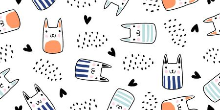 Cats seamless vector pattern with hearts. Cute hand drawn kitten faces. Scandinavian drawing cartoon style with doodle texture. Vector illustration for baby, kids, and children fashion textile print.