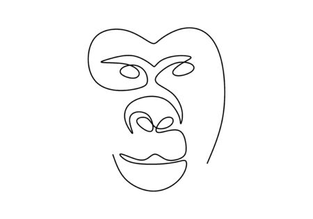 one line monkey drawing. Vector animal chimpanzee or gorilla face.
