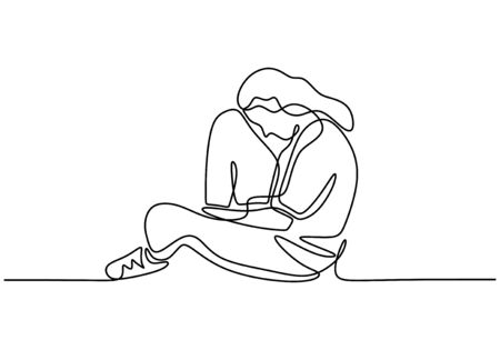 Fille triste une conception de minimalisme de dessin au trait. Illustration vectorielle continue dessinée à la main d'une femme désespérée. Vecteurs