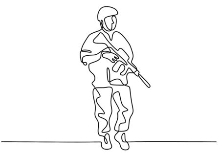 Soldier one line drawing. Portrait of army man with uniform and rifle gun. Continuous single hand drawn military concept. Illustration