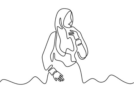 Continuous one line drawing of hijab girl. Woman wearing islamic scarf.