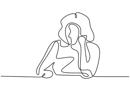 Sad girl one line drawing minimalism design. Vector illustration continuous hand drawn of woman feeling desperate. 일러스트
