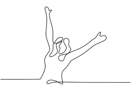 Continuous one line drawing of woman rising hands up feeling happy and freedom. Cute girl feel free and young minimalism design isolated on white background.