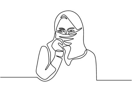 Continuous one line drawing of woman wearing burka and hijab. Muslim girl portrait vector illustration.