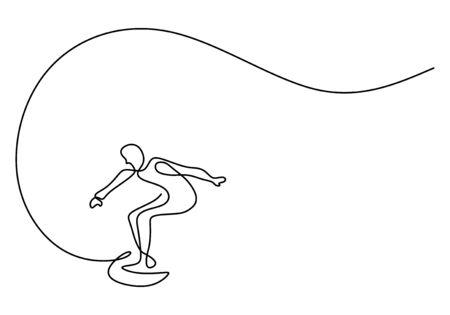 vague continue de mer de vacances de surfeur de dessin d'une ligne. Cavalier de vague debout sur une planche de surf sur la plage. Art minimaliste de croquis dessinés à la main.