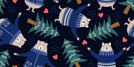 bear and forest pattern for baby clothes. Hand drawn cute winter animal cartoon scandinavian style. Çizim