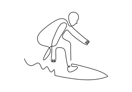 One line surfing sport. Vector illustration person standing on surf board on wave.  イラスト・ベクター素材