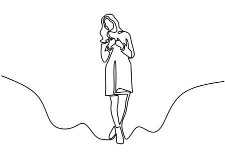 Cute girl one line drawing. Minimalism art design of woman standing. Young lady with fashionable dress.