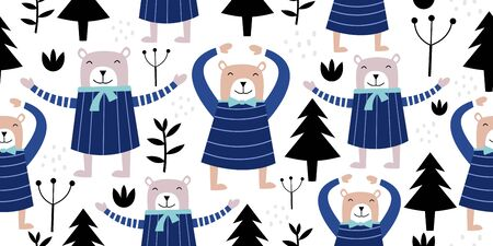 Scandinavian bear seamless pattern. Vector hand drawn animal for baby and kids fashion textile. Happy cute cartoon drawing.