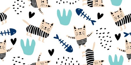 Cute cats colorful seamless pattern background. Scandinavian hand drawn funny animal pet with unique character. Good for baby and kids fashion, apparel, and textile print.