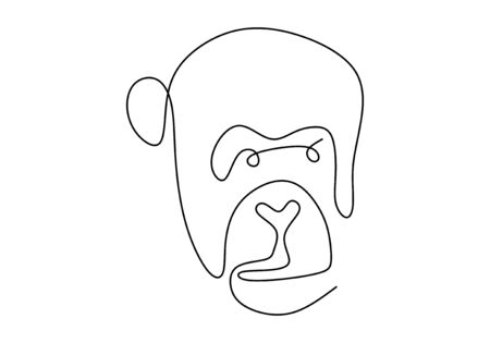 one line monkey drawing. Vector animal chimpanzee face