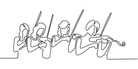 Classical music one line drawing. Vector minimalism illustration with violinist. Stringed instrument orchestra theme. Continuous single hand drawn simplicity design.