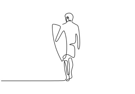Person walking with surf board. Surfing sport theme. Summer break and vacation minimalism vector illustration isolated on white background.