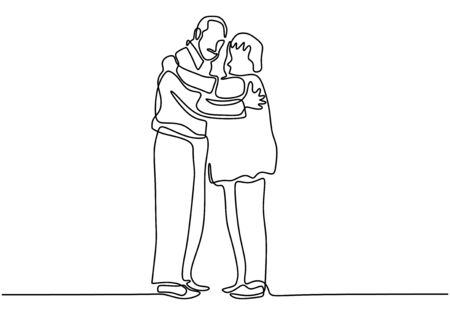 Continuous one line drawing of romantic couple. Old grandfather and grandmother. Parents people with love. Minimalism vector illustration hand drawn.