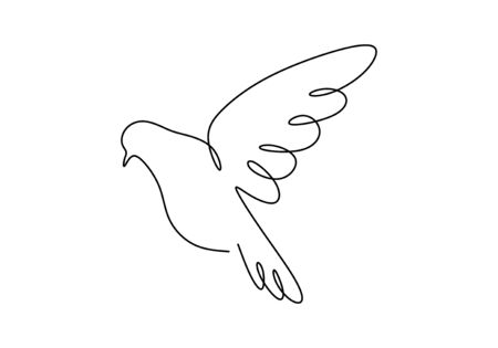 Dove one line drawing, Continuous hand drawn bird animal flying. Good for poster, logo, emblem, and banner.