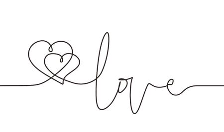 Continuous line drawing two hearts embracing, Vector minimalist illustration of love lettering text concept. Minimalism one hand drawn sketch romantic theme.